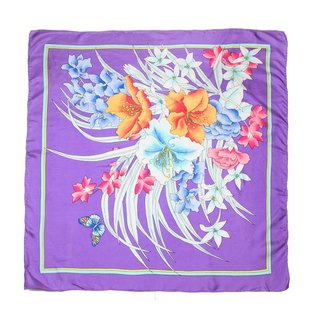 [Egg plant ancient] and the room floral printing ancient scarves