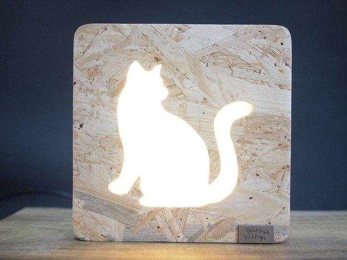 Wooden Table Lamp Cat Animals