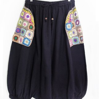 Knitted woven pockets flying squirrel pants / ethnic pants / flower cotton pants / trousers - colorful forest wind