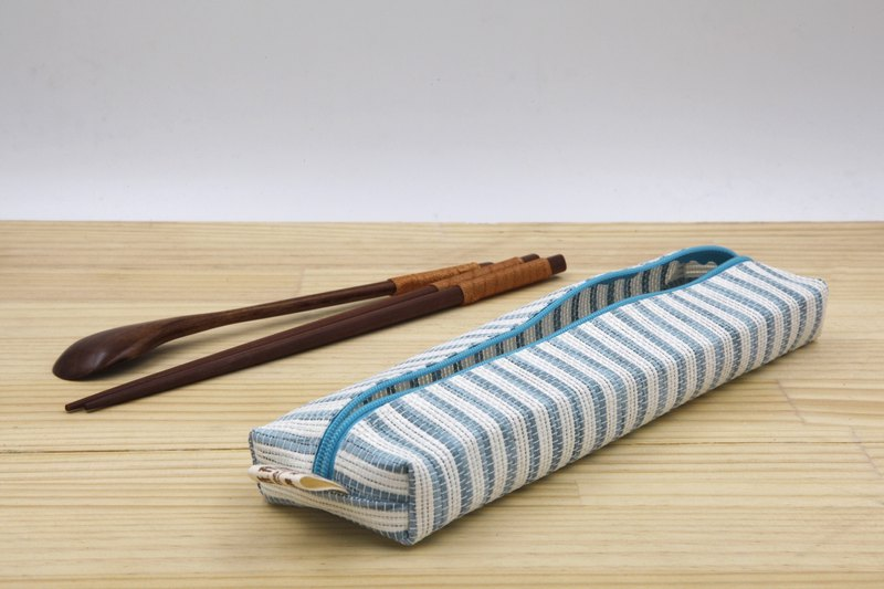 [Paper cloth home] paper line woven large tableware bag blue and white