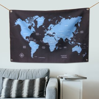World map tarpaulin temperament blue