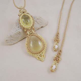 Lemon Quartz long chain / natural stone x Brazilian wax silk cord necklace