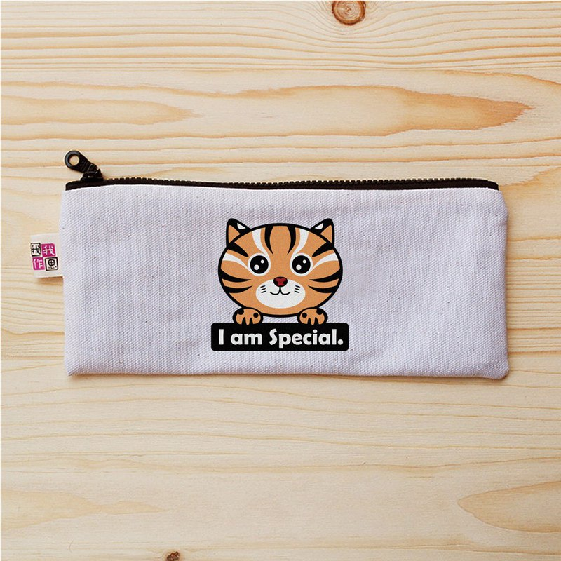 Leopard cat stone tiger flat pencil case