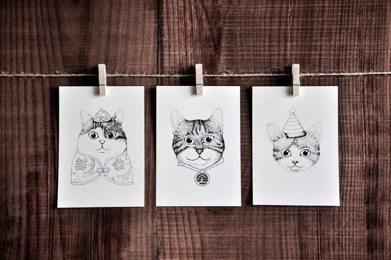 Cat Portrait Series Card - Chinese Cat / Jin Tai Lang Cat / Party Cat / Postcard