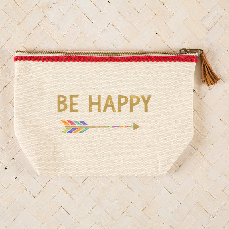 Canvas tassel zipper cosmetic bag-Be Happy∣BAG220