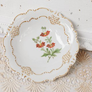 [Good day fetish] German antique ceramic hand-painted flower tray. Dessert plate. Decoration