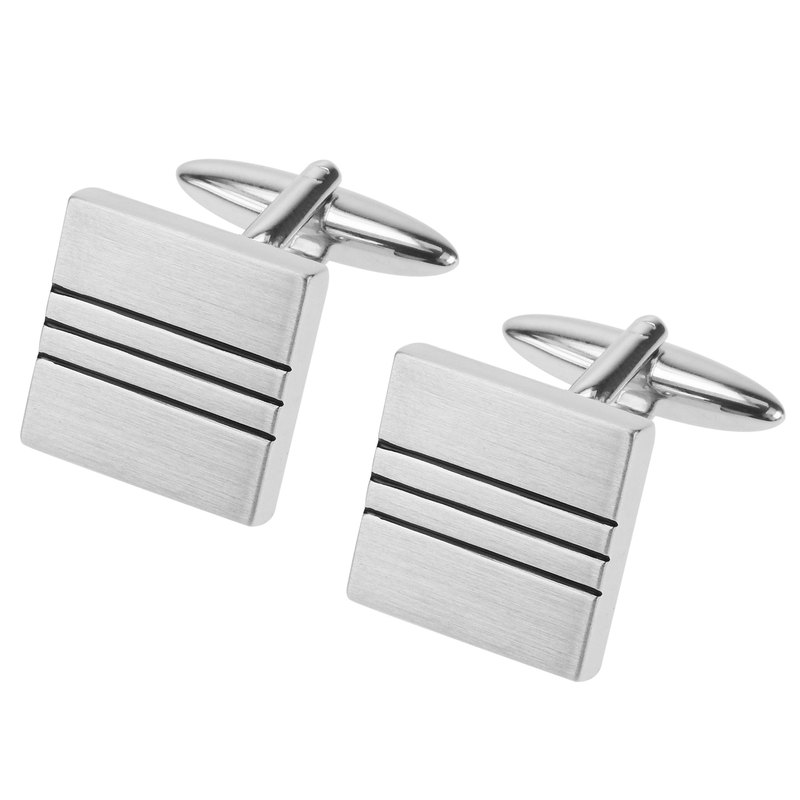 Brush Silver Black Lines Square Cufflinks