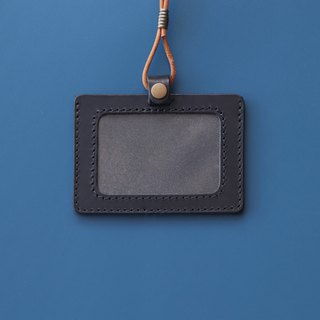 Double-layer vegetable tanned leather identification card set - with original leather neck rope | black horizontal