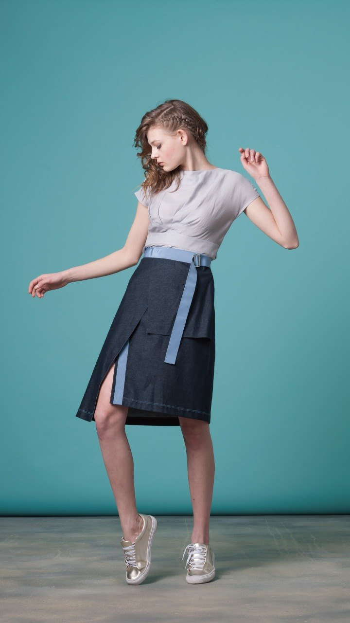 Turn-wrap wrap denim skirt (FIT029C0357 / FIT029C0358)