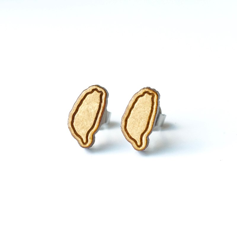 Plain wood earrings-Taiwan