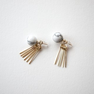 Howlite & fringe 2way pierce 14kgf howlite & Fringe 2way earrings 14kgf