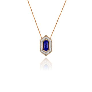 Hexagonal Shape Lapis Diamond Necklace