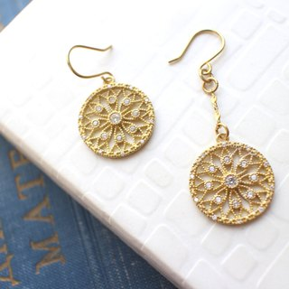 Rose princess -zircon brass handmade earrings