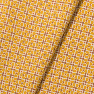 Hand-Printed Cotton Canvas(Wide) - 500g/y / Old Ceramic Tile No.4 / Retro Yellow
