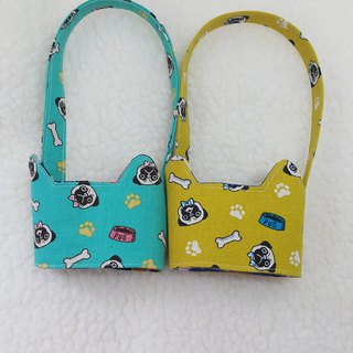 Pug / two-color cat ears with eco-friendly drink cup sleeve bag / double-sided available