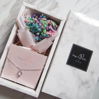 [Cloud Pattern Gift Set - Bracelet] Powder Color Dry Star Bouquet + Mini Ring Bracelet