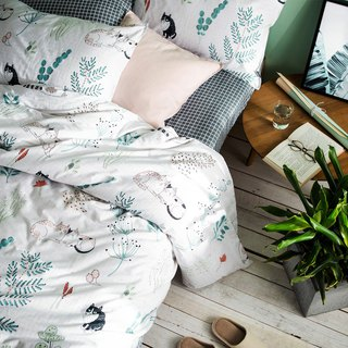 Grass raft single double bed / bed bag hand-painted cat 40 cotton bedding pillowcase quilt cover