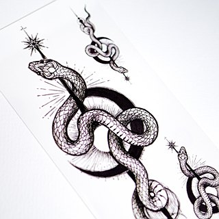 Gothic Mysterious Black Moon Snake Long Lasting Temporary Tattoo Stickers Summer
