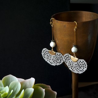 Gray butterfly wing with howlite bead earrings