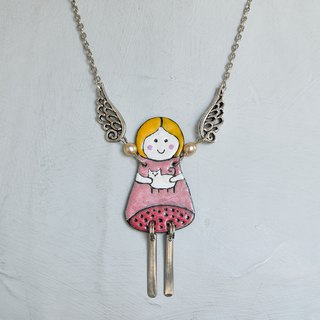 Angel Enamel Enamel Necklace, Angel With Cat, Girl With Her Cat, Cat Jewelry,