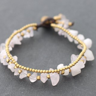 Rose Quartz Brass Basic 2 Strand Bracelets Love Stone