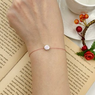 Sterling silver, silver and diamonds, 6mm, pink diamond, red thread, hand-practicing, single-drill, zircon, peach blossom