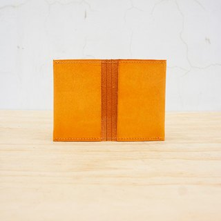 New leather の double induction card holder (customizable lettering)