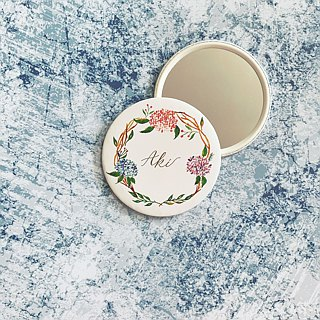 Mstandforc Hydrangeas Pocket Mirror with bag | Florals with gold foil service