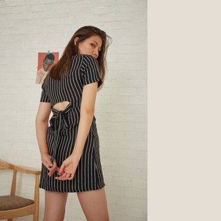 Linen Stripe Dress - Black
