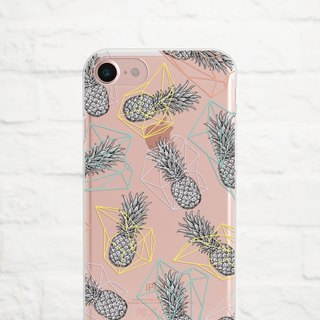 Pineapple Geometry, Clear Soft Phone Case, iPhone X, iphone 8, iPhone 7, iPhone 7 plus, iPhone 6, iPhone SE, Samsung