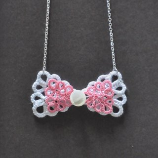 《Made To Order》『Double Bow』Pink n White Tatting Necklace