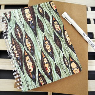 PuChi / self portrait / girl peep / hard shell cover notebook