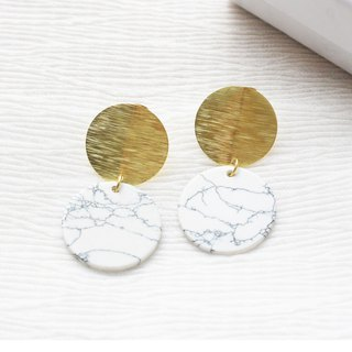 geometry. Brass disc white turquoise earrings ear sterling silver BRASS DISC HOWLITE EARRING