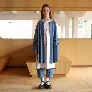 Denim blue flower long coat - imakokoni