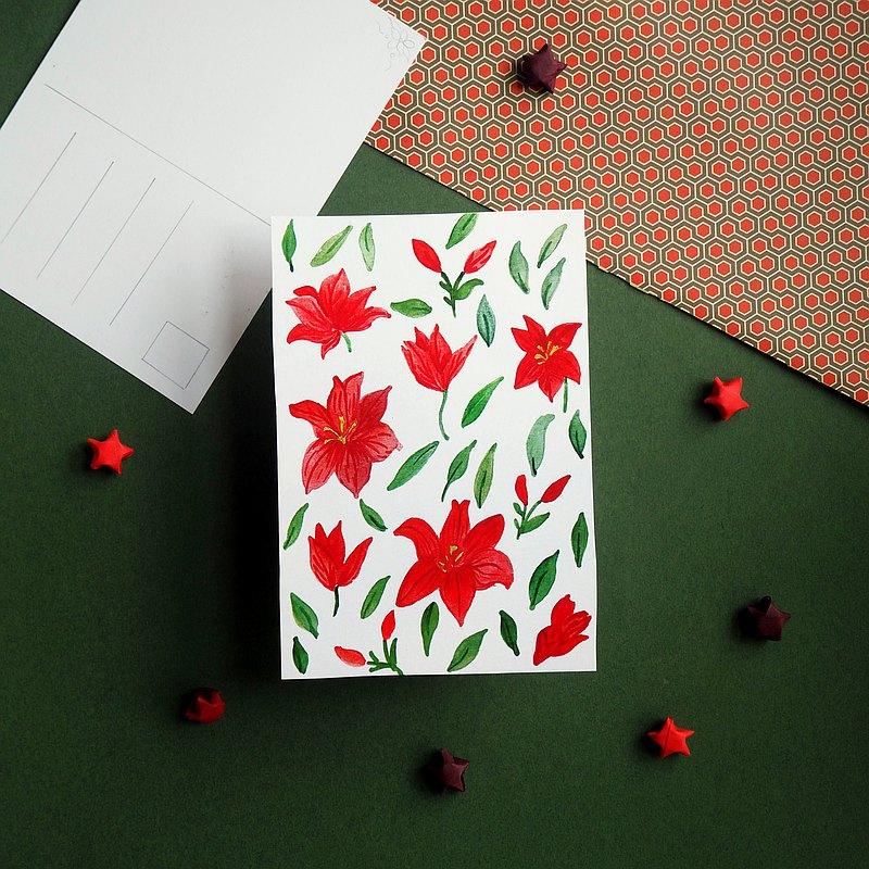 紅色花朵明信片