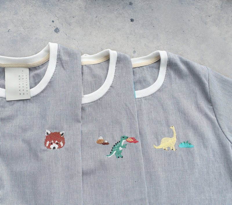 T rex / Bronto / Red Panda embroidery - cropped shirt