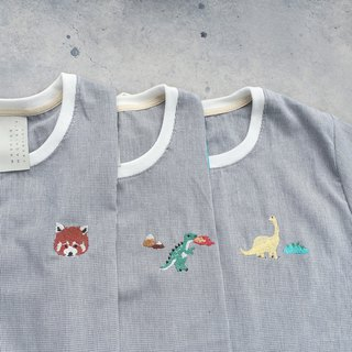 T rex / Bronto / Red Panda  embroidery - cropped top shirt