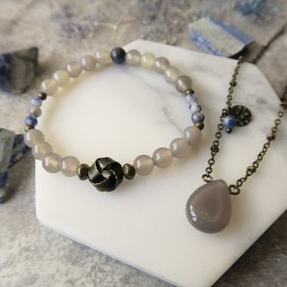 Gray Agate Blue Stone (Soda Stone) Water Drop Pendant Charm Necklace + Bracelet Neutral Gift