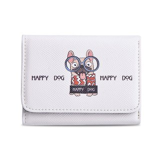 2018 new simple white fresh girl 30 percent short wallet / card holder / wallet / short clip