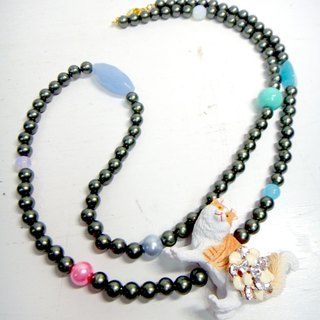 TBL cat imitation pearl necklace crystal necklace cute