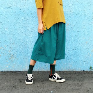 Maverick Village Lightweight Cotton and Cropped Cropped Skirt Joker Wide Pants [Turquoise] J-33