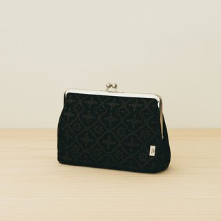 Clasp Frame Clutch/Begonia Glass Pattern/Gentleman Black