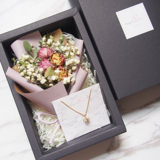 [Warm Bouquet Gift Set] Mini Dry Bouquet (Light Purple) + [Six-pointed Star Necklace]