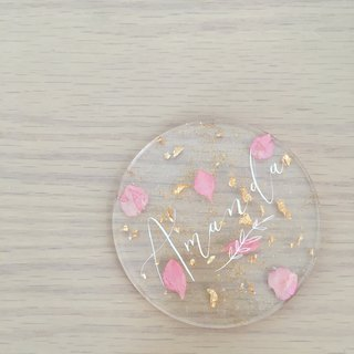 Transparent English calligraphy dried flower coasters