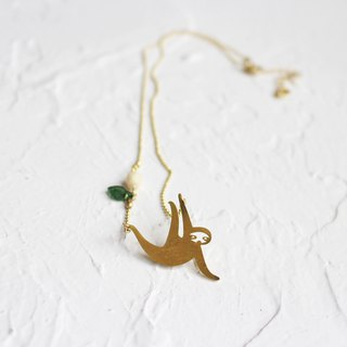 Sloth hammered brass golden necklace I Story_Slow Journey