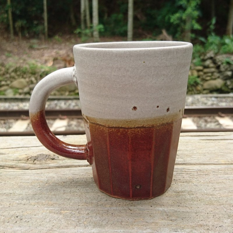 Pottery Handmade Carved Edged Coffee Cup Mug Tea Cup
