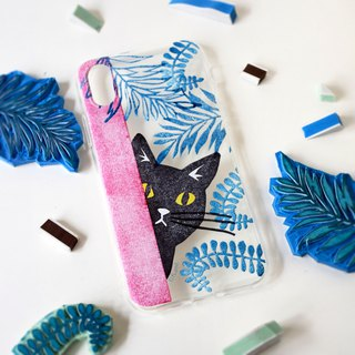 The Stamp Style little Black cat pattern phone case, for iPhone, Samsung