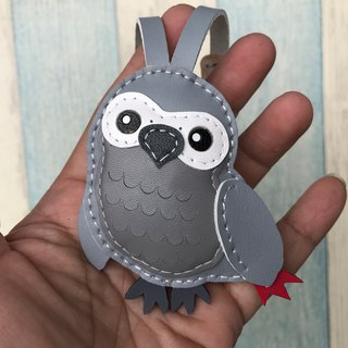 Leatherprince Handmade Leather Taiwan MIT Light Grey Cute African Parrot Handmade Leather Charm Small Size small size