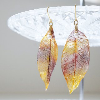 【Genuine leaves】 Real Reef and Pearl Earrings or Earrings