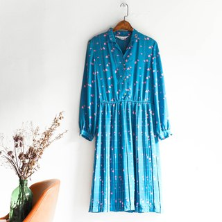 Kawaguchi - Hyogo blue cherry blossoming fall autumn girl antique one-piece silk skirt dress overalls oversize vintage dress